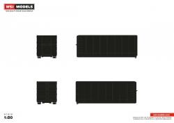 40m³ Abrollcontainer, schwarz 1:50